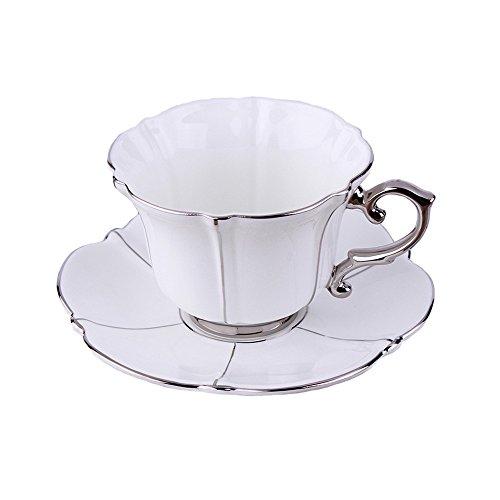 Porzellan Keramik Tee-Tasse Kaffeetasse, Weiß Und Silber (Tee Silber-weißer)