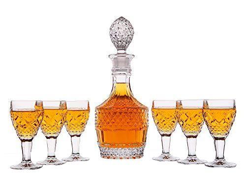(Personalisierte 7 pc Whiskey Dekanter Set - Dekanter und 6 Gläser Geschenk-Set - Custom graviert mit ausgefallenem Design)