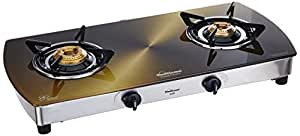 Sunflame Crystal Stainless Steel 2 Burner Gas Stove, Gold