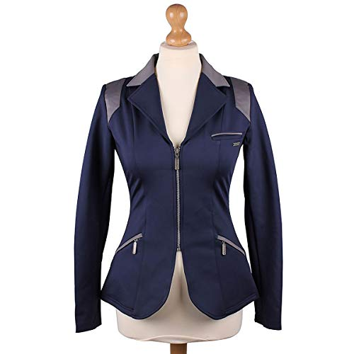 QHP Damen Turniersakko Turnierjacket Eve Adult Softshell graue Farbdetails (Navy-grau, 44)