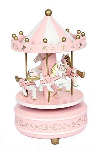 FreshGadgetz Set 1 Karussell Spieluhr in Herzform / Spieldose / Geschenk für ein Kind Rosa Karussell-spieluhr