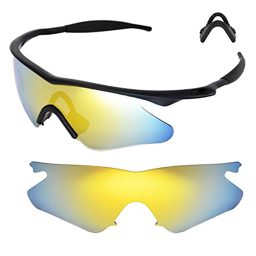 Walleva Ersatzlinsen oder Linsen mit Nasenpolster für Oakley M Frame Heater Sonnenbrille - Mehrfache Optionen (24K Gold Polarisierte Linsen + Schwarzer Gummi)