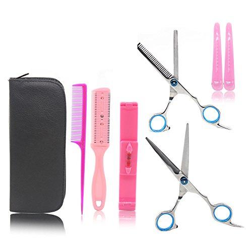 Xcellent Global Ciseaux de coiffure une trousse avec un kit de différents ciseaux et barettes pour les cheveux, pour se faire la frange, des ciseaux pour couper et des ciseaux de barbier avec des dents pour effiler BT017
