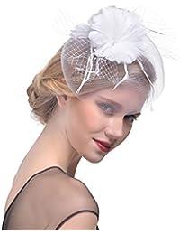 Ssowun Fletion Cappelli Cerimonia Donna Copricapo di Piume Cappello Fiore da  palco Accessori per Capelli per 6813a0492f33
