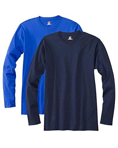 Hanes Maglietta a maniche lunghe maglietta Premium (confezione da 2) 1 Deep Royal / 1 Navy