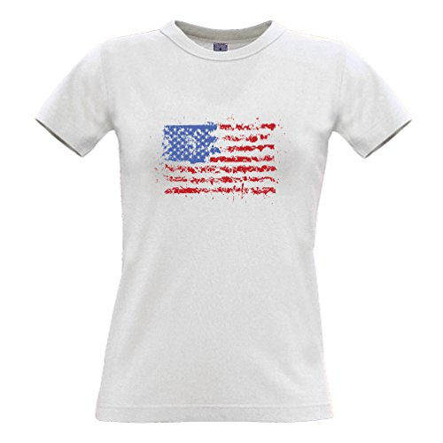 American Flag-Farbe Splat USA Stars And Stripes Amerika Print Design Frauen T-Shirt
