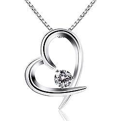 B.Catcher Collar Mujer Plata de Ley 925 corazón ''para siempre te amaré''con Para con Hermosa Caja de Regalo Originales 45cm