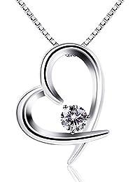 B.Catcher Kette Damen 925 Sterling Silber Zirkonia mit Lebhaft Herz Halskette mit Etui