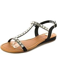 Sandales Pour Femmes/Noires Bride Cheville Bout Ouvert Avec Diamantes - TAILLES 36-41