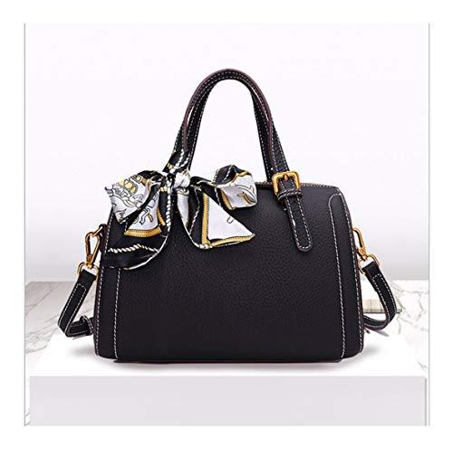 XUZISHAN Meine Damen Tasche Quadrat Boston Handtasche Reine Farbe Seide Schal Leder Crossbody Single Schultertasche Retro Simple Fashion Messenger Bag, B