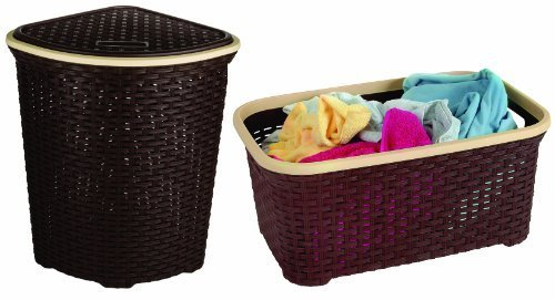Rattan (Wicker Style) Laundry Set, Corner Hamper and Basket (Brown Base and Beige Trim) by Superior Performance Inc - Wicker Base