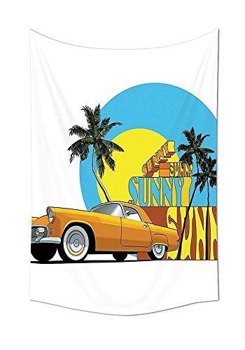 années 50Decor Collection vintage Voiture classique en Magic City Miami avec exotique de noix de coco arbres Sunny Day Beach Chambre à coucher Salon Dortoir Tapisserie murale Jaune Bleu Orange, multicolore, 59W By 80L Inch