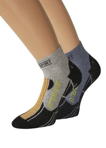 2 Paar Trekking Socken oder 2 Paar Kurzschaft Trekking Socken (35-38, Kurzschaft Jeans/Grau) (Klettern Denim Jeans)