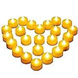 Diyife Vela LED, [24 PC] Luces de Té sin Llama Velas Led de Té Velas Eléctricas con Baterías [Amarillas Cálidas] Día de San Valentín, Halloween, Navidad, Decoración de Cumpleaños