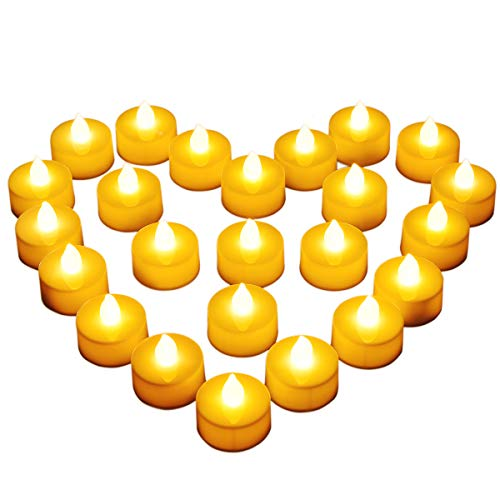 Diyife 24 Bougies à LED, Bougies Chauffe-Plat sans Flamme, Décoration de La Batterie pour Noël, Arbre de Noël, Pâques, Mariage, Fête [Batteries Incluses]