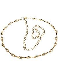 Calonice Amorino Accessoire Gürtel Goldjuwel besetzter aus einer mit eingefassten Juwelen und Gold Hakenverschluss Verstellbare Einheitsgröße 21400