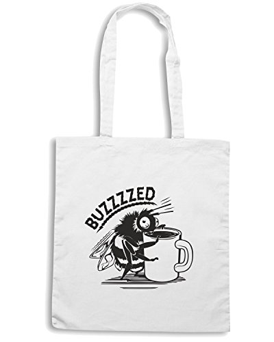 T-Shirtshock - Borsa Shopping FUN0274 11 18 2013 Coffee Buzzed T SHIRT det Bianco
