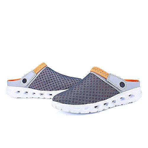 Bwiv sabots d'été légers pour homme et femme sandales de plage pantoufles avec bride des tailles 37-43 Gris avec bride orange