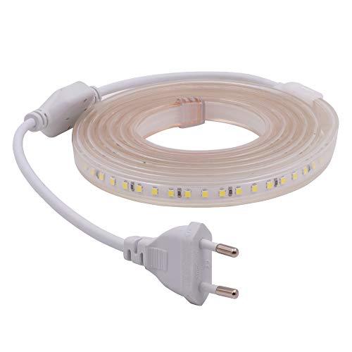 XUNATA 4m 220V Tiras LED, SMD 2835 120LEDs/m, IP67 Impermeable, Escalera de Techo Blancas Tira de LED Cocina Cable Luces LED Blanco frio