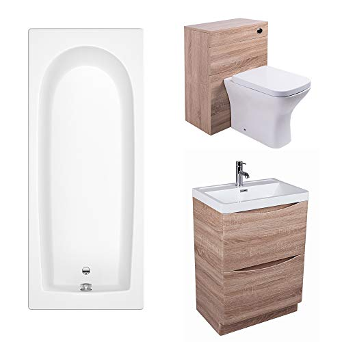 Aquariss Bathroom Suite 1700mm Bath 600 Vanity Basin, used for sale  Delivered anywhere in UK