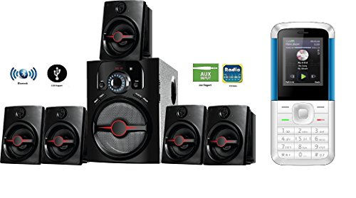 IKALL 5.1 Channel Bluetooth IK-444 Home Theater System with I KALL K5310 1.8 inch Basic Mobile Phone (White/Blue)