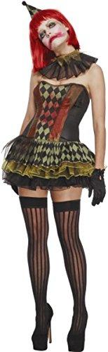 id Fever Creepy Zombie Clown Kostüm Komplettes Outfit schwarz Gr. Medium, multi (Komplette Damen Zombie Kostüme)