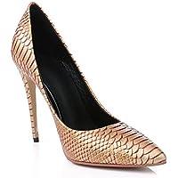Scarpe da donnaWomens Brown serpentina scarpe a punta della bocca poco profonda scarpe tacco sottile ultra-alta ha sottolineato , brown , 37
