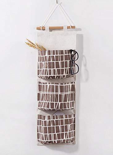 Preisvergleich Produktbild Xinnegen Home Wandbehang Tür Schlafsaal Multi-Layer-Gewebe Wandbehang Aufbewahrungstasche Spielzeug Aufbewahrung Bag_Coffee Plaid