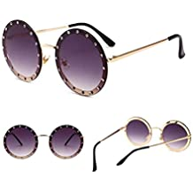 Huyizhi Guay Marco redondo de moda unisex con gafas de sol de diamantes de imitación Protección