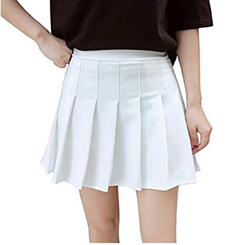 Nilover Women's Spring Summer Solid Color Preppy Style A-Line Pleated High-Waist Tennis Skirt Mini Skirt White L