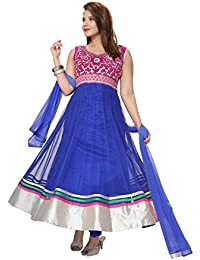 Divinee Blue Color Readymade Net Anarkali Churidar Suit For Women With Stone Work Embroidery