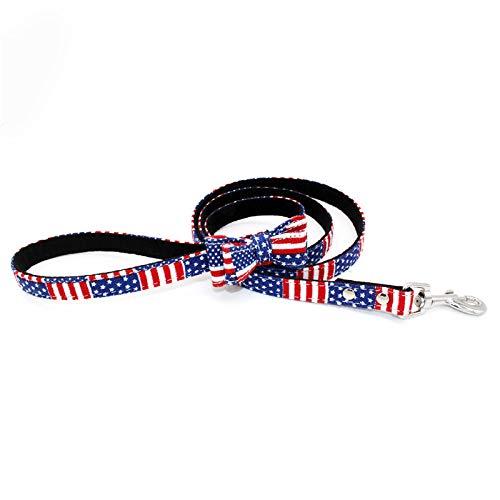 MMMDAN123 Stoff Bogen Haustier Traktion Seil Druck Hund Seil Walkcat Seil solide super-schlanke Hund Kette Haustier liefert 120 x 1,5 cm Star-Spangled Banner: Blau -