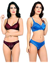fdf6547c15092 Akakee Women s Everyday Non Padded Wire Free Full Coverage Lace Bra Panty  Set Combo Pack of
