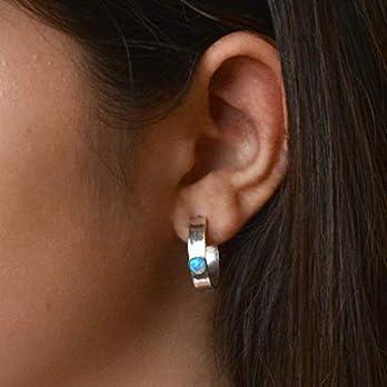 Creolen 4mm Blauer Opal Ohrringe 925 Sterling Silber Geh?mmerte Creolen f?r Damen