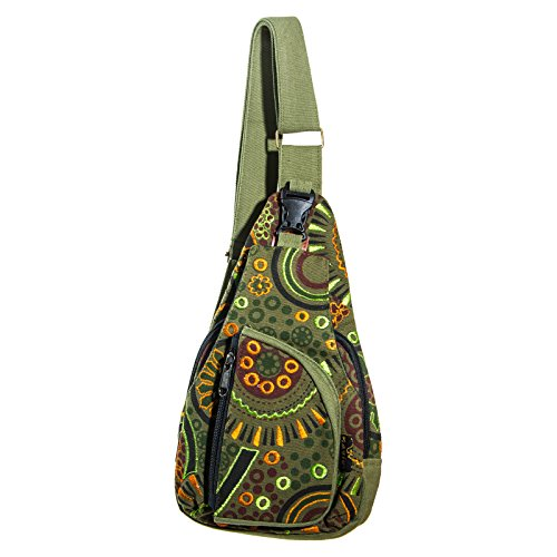KUNST UND MAGIE Goa Bodybag Schultertasche, Farbe:Army Green Mini Sling Rucksack