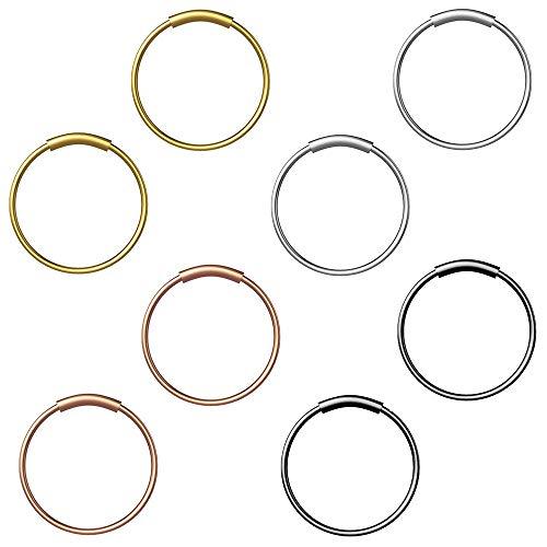 Ho2nle 8 pezzi naso anello cerchio 8mm piercing naso anelli uomo donna anello al naso in acciaio inox per labbro orecchio capezzolo cartilagine sopracciglio argento oro nero oro rosa