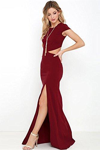 SZIVYSHI Reizvolle rückseitige geöffnete geteilte lange Kleider der Frauen Burgund