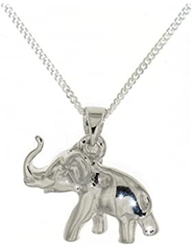 Derby Anhänger Elefant massiv mit Kette echt Silber - Sonderpreis Sterling-Silber 925 - 23821