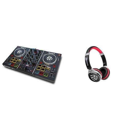 Numark Party Mix DJ Controller mit eingebauter Lichtshow, Audioausgängen und Virtual LE Software + Numark HF150, Professioneller DJ Kopfhörer mit legendärer Numark Soundqualität Bundle (Dj-licht-controller-software)