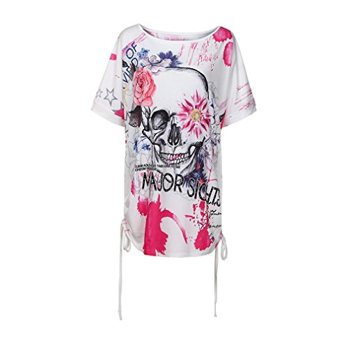 MRULIC Nuue T-Shirt mit Bändern Skull Head Muster Bluse für Damen Sommer Sweatshirt(Pink,EU-40/CN-L)