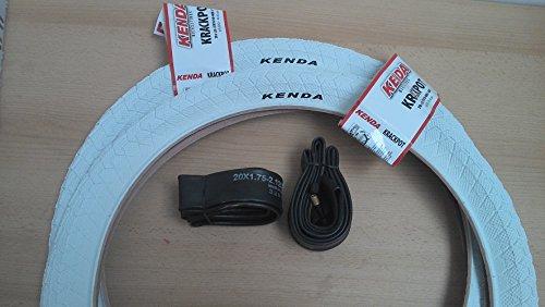 2 x Kenda BMX Freestyle Fahrrad Reifen 20Zoll 20x1.95 50-406 KRACKPOT weiß + 2 Schläuche Kenda AV (Autoventil)