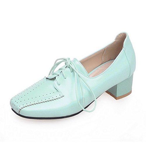 Bleu Légeres Carré VogueZone009 Bas Femme à Couleur Pu Unie Talon Lacet Chaussures Cuir PxxARCB7wq