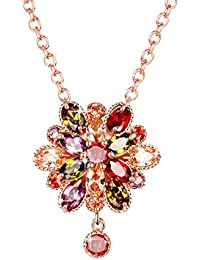 Yellow Chimes Double Flower Fine Work Swiss Cubic Zircon 18K Rose Gold Plated Pendant for Women and Girls