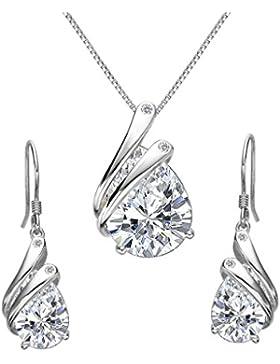 Clearine Damen 925 Sterling Silber Elegant Delicate Cubic Zirconia Tropfen Feder Pendant Halskette Hook Ohrringe...
