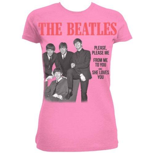 The Beatles Please Please Me, Camiseta para Mujer, Rosa, Large