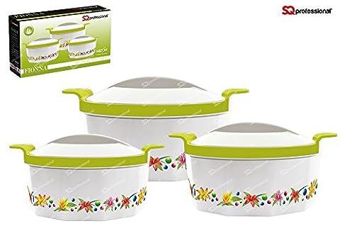 Fionna 3pc Hot Pot Casserole Set Keep Warm Serving Dishes 1L, 1.5L and 2.5L Green Pink Blue Orange