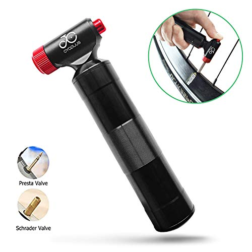 CYCPLUS CO2 Reifenpumpe Fahrrad Minipumpe CO2 Inflator kompatibel mit Presta und Schrader Ventil Kartuschenpumpe mit Metallgriffbehälter Keine CO2-Kartuschen enthalten-Rot