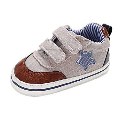 Jaysis Kleinkind Schuhe Baby Junge Mädchen Weiche Sohle Leinwand Sneaker Star Prewalker Single Shoes Beige Grau Marine