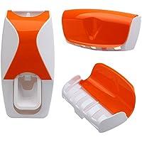 Portacepillos y dispensador de pasta de dientes con 5 ranuras de color naranja