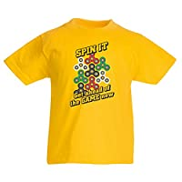 T shirts for kids for Fidget Toys Hand Spinner enthusiast - Stress Reducer Gift (7-8 years Yellow Multi Color)